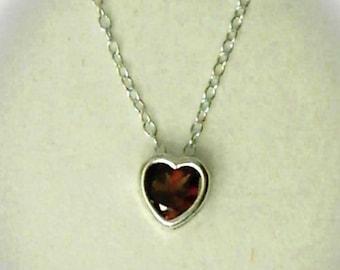 5mm Red Garnet Gemstone Heart in 925 Sterling Silver Backset Bezel Pendant Necklace January Birthstone