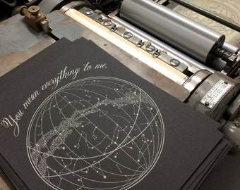 You Mean Everything To Me (black paper), single letterpress print