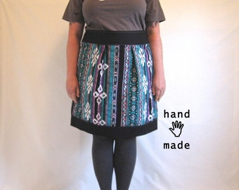 Furiosity Skirt - plus size, teal purple black, 1980s tribal print cotton fabric, women's skirt, XXL, size 22, size 20 -- 42W-55H