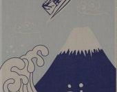 Star Wars Fabric R2D2 and Mt. Fuji Cotton Japanese Tenugui Cloth w/Free Insured Shipping