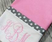 Pink and Gray Pillowcase, Personalized Pillowcase, Monogrammed Pillowcase, Pink Bedding, Pink Pillowcase