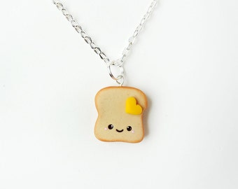 Kawaii Buttered Toast Necklace Polymer Clay Charm
