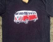 VW bus camper batik clothing westfalia hippie clothing organic cotton mens clothing t shirt hand dyed vintage black, festival top mens 3xl