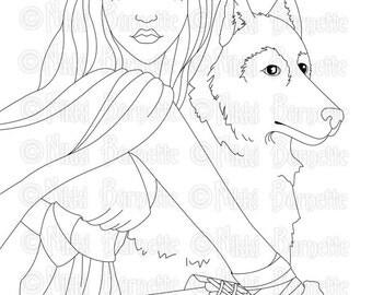 Digital Stamp - Printable Coloring Page - Fantasy Art Stamp - Wolf Stamp - Adult Coloring Page - Fallon - by Nikki Burnette - PERSONAL USE