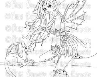 Digital Stamp - Printable Coloring Page - Fantasy Art - Fairy Stamp - Adult Coloring Page - Rowenia - by Nikki Burnette - PERSONAL USE