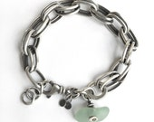 Aqua Seaglass Lake Erie Beach Glass Sterling Silver Heavy Double Oblong Vintage Chain Charm Bracelet