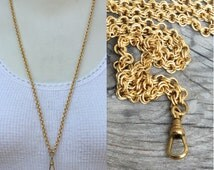 Gold Lanyard Necklace. gold solid raw brass double Rollo chain. Add A Charm. charm holder. diy jewelry making supplies c137