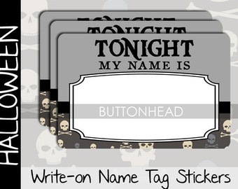 10 Halloween Party Name Tags Stickers - Adult Halloween Party Games Favors