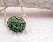 Silver Cored Big Hole Lampwork bead in Juicy Green