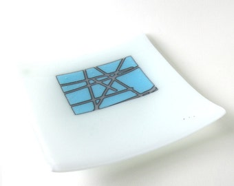 "Modern Dish - Reactive Glass - Abstract Vibe - 8"" Square - Cloud White, Sky Blue and Periwinkle - Kiln formed - Reactive Cloud"