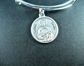 Saint Jude With Prayer Round Medal Silver Bangle, Inspired, Adjustable Bangle, Silver Plated Pewter, Inspirational Gift For Her