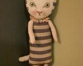 ooak cat art doll,  original doll, stripes cat, linen fabric, wall art doll , shelf art