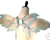 HIlary No.25 - Small Fairy Wings in Pink with Silver Spirals and Light Blue