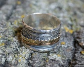 Silver Gold ring, spinner Ring, fidget Ring, vine Ring, alternative wedding band, bohemian jewelry, unisex wedding band - A cozy day R2100