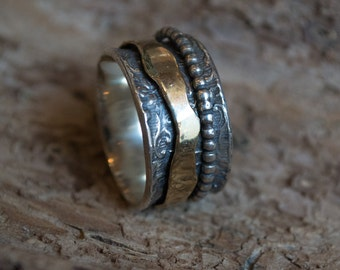 Mens ring, Spinner ring, Gold Silver ring, unisex wedding ring, meditation ring, wide twotone ring, mixed metals ring - Dream away R2160