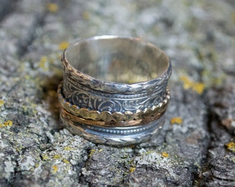 Silver Gold ring, spinning Ring, gypsy Ring, Woodland Ring, dotted Gold Ring, bohemian Ring, wedding band, twig ring - A cozy day R2100