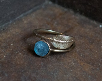 Adjustable ring, leaf ring, bronze ring, boho chic ring, blue quartz ring, birthstone ring, dainty stacking ring - Gone with the wind RC2062