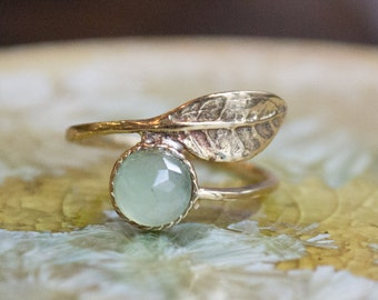 Thin ring, leaf ring, Golden brass ring, adjustable ring, jade ring, gemstone ring, stack ring, dainty ring - Gone with the wind RK2062-3