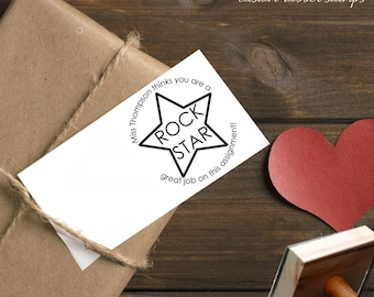 0387 JLMould Custom Circle Rock Star From the Desk of Teacher Custom Rubber Stamp Personalized Library Custom Rubber Stamp Stamper