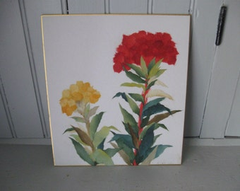 1970s Chinese Torn Rice Paper Art of Red and Yellow Flowers #2