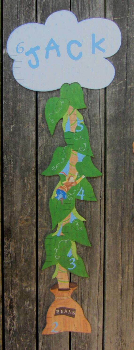 Wood Growth Chart JACK & THE BEANSTALK - Original Hand Painted Keepsake