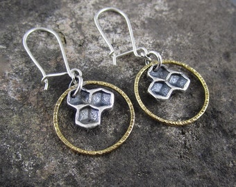 Sunny Honeycomb Mixed Metal Sterling Silver and Brass Handmade Earrings