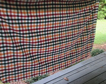 """Vintage Plaid Cotton Tablecloth - Gold Burgundy Navy Forest - Country/ Farmhouse Style - 55"""" by 78"""""""