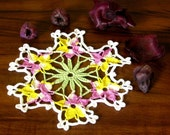 Garden Violas Thread Crochet Lace Doily - Handmade Decor Accent in Light Pansy, Lavender, Yellow - Small 7 Inch