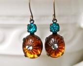 Smokey topaz  blue rhinestone black diamond dangle earrings. Tiedupmemories