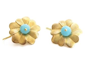 Golden earrings, dangle earrings, sterling silver, brass flower, faceted glass, gift for mum, pendiente colgar, pendiente plata