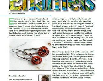 Orange Earrings, Rustic Jewelry, Enamel Earrings, Copper Jewelry, Statement Earrings, Wirework, Autumn Jewelry, Unique Earrings