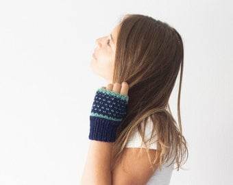 Blue fingerless gloves with turquoise dots mittens hand knit gloves half finger gloves womens knit gloves hand warmers
