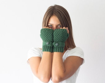 Green knit gloves with a strap and button fingerless gloves half finger gloves wrist warmers knit womens gloves