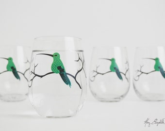 Green Hummingbird Stemless Wine Glasses - Set of 4 Hummingbird Glasses - Mother's Day Glasses, Hummingbirds, Hummingbird Glass