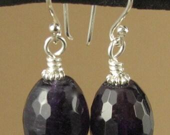 Amethyst earrings. Big, faceted. Dark purple.Sterling silver 925. Handmade.