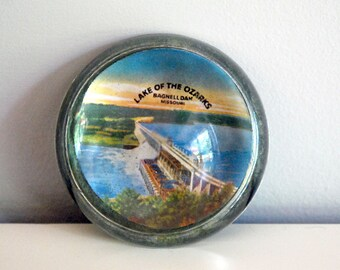 1930s Glass Dome Paperweight Travel Souvenir Bagnell Dam, Lake of the Ozarks Missouri Desk Accessories Architecture  Vintage Clear Glass