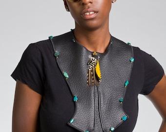 Black Elk Skin Collar with Larimar Stones/ Feathers