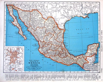 Mexico Map, Central America Map - 1942 Vintage Book Page - Old Map from World Atlas 2 Sided - 14 x 11