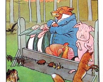 The Fox Locks Up His Animal Friends - Children's Picture Book Page  - 1958 Vintage Book Page - Children's Stories - 9 x 7