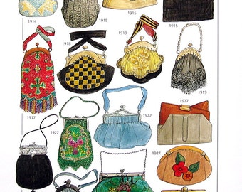 Early 1900's Accessories - Fashion Jewelry, Handbags and Purses - Reference Material-1993 Vintage Book Page - 9.5 x 8