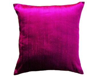 Magenta Pillow Cover -- Silk Purple Pink Silk Throw Pillow Cover -- 20 x 20