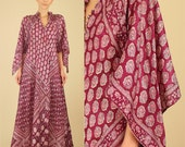 ViNtAgE 70's Rare INDIAN Silk Caftan Maxi Dress // India // Angel Wing Hippie Festival Dress // Free Size