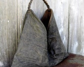 Rustic Triangle Leather Hobo in Washed Leather by Stacy Leigh Ready to Ship