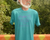 vintage 80s t-shirt PARENTS make sense wtf family smart start Large Medium funny teal 90s