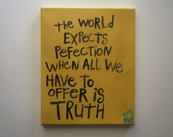 Perfection Truth Word Art Painting Original Canvas Quote - Nayarts