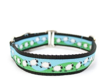 """1"""" Dog Collar ~ Counting Sheep ~ buckle or martingale collar"""