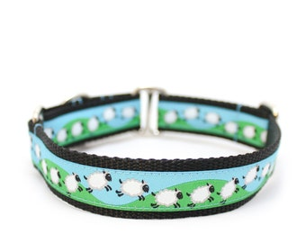 "1"" Dog Collar ~ Counting Sheep ~ buckle or martingale collar"