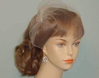 Birdcage Wedding Veil with Rhinestones on Small Hole Veiling  Made to Order in Ivory