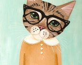 Brown Tabby in Glasses - Original Cat Folk Art Painting