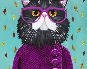 CAT Art New Autumn Coat Original Cat Folk Art Painting